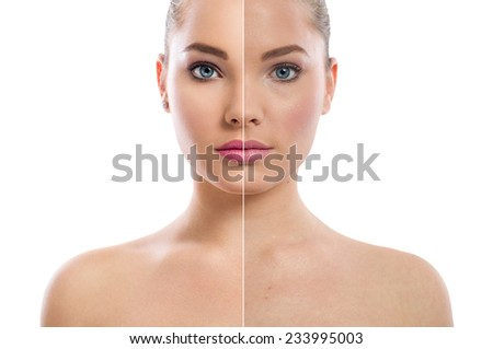 Beautiful woman's portrait isolated on white, before and after retouch, skin care. - stock photo