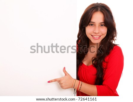 Beautiful woman saying something with space for insert text or design - stock photo