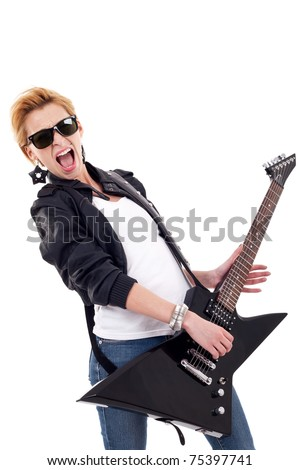 beautiful woman screaming while playing an electric guitar - stock photo