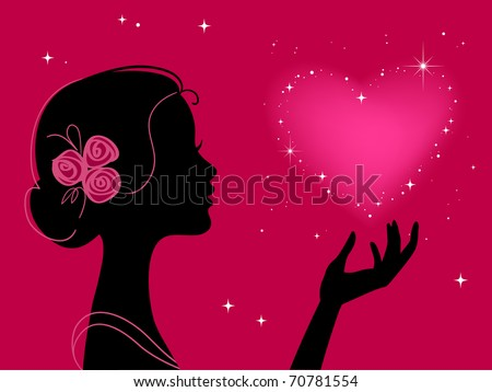 beautiful woman silhouette with star heart - stock photo