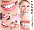 Beautiful woman smile and healthy teeth. Dental health. Collage. - stock photo