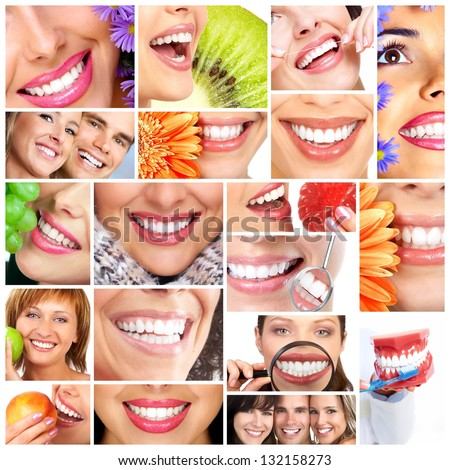 Beautiful woman smile. Dental health care collage. - stock photo