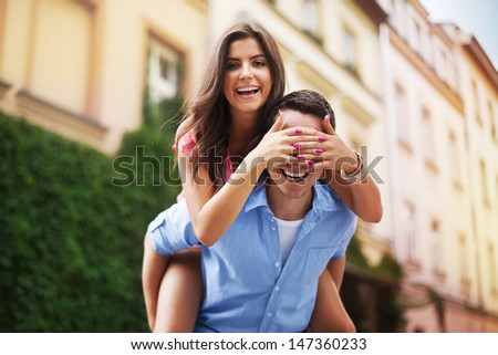 Beautiful woman spending time with her boyfriend  - stock photo