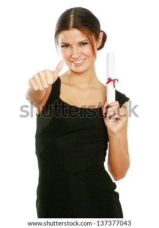 Beautiful woman student with diploma and showing ok,isolated on white background - stock photo