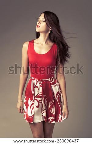 Beautiful woman. Studio shot - stock photo