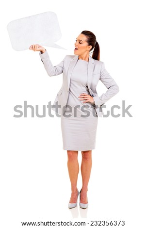 beautiful woman talking in blank speech bubble isolated on white background - stock photo