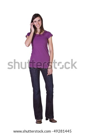 Beautiful Woman Talking on the Cell Phone - Isolated Background - stock photo