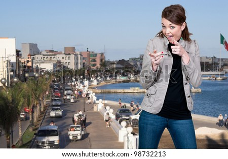 Beautiful woman tourist visiting in Cozumel Mexico - stock photo