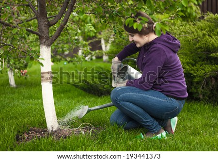 Beautiful woman watering tree at garden with watering pot - stock photo
