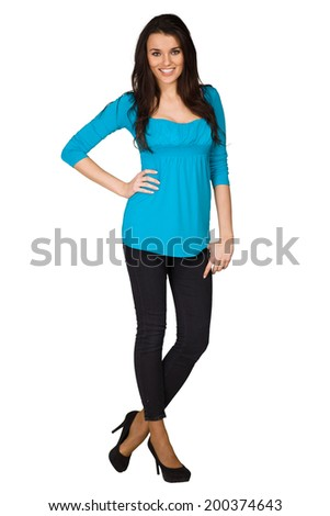 Beautiful woman wearing blue blouse - stock photo