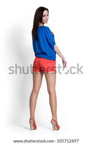 Beautiful woman wearing blue blouse with emotions - stock photo