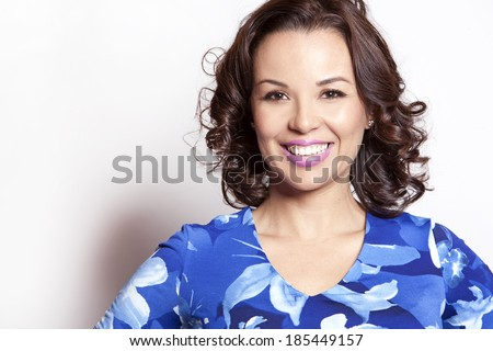 beautiful woman wearing blue outfit on white background - stock photo