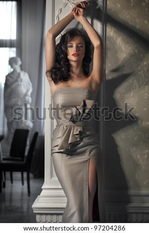 Beautiful woman wearing dress - stock photo