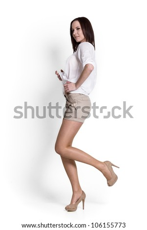 Beautiful woman wearing white blouse with emotions - stock photo