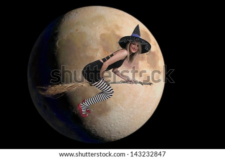 Beautiful woman wicked witch with ruby shoes - stock photo