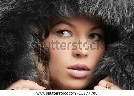 Beautiful woman. Winter fashion & makeup - stock photo
