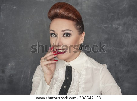 Beautiful woman with a confused expression  - stock photo