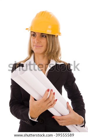 Beautiful woman with a construction helmet holding blueprint projects - stock photo