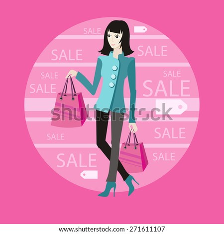 Beautiful woman with a lot of shopping bags. Lifestyle concept in cartoon style. Raster version - stock photo