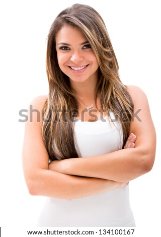 Beautiful woman with arms crossed  - isolated over white - stock photo