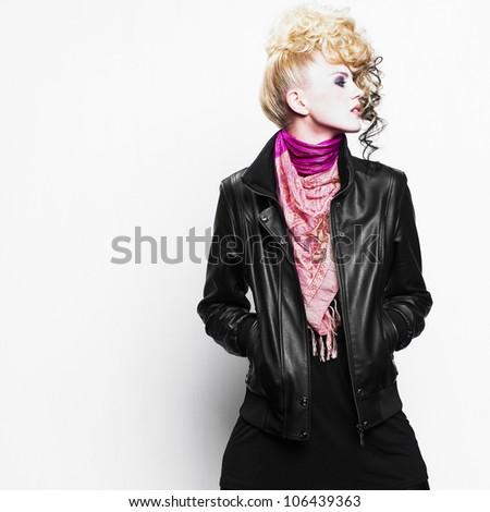 Beautiful woman with art hairstyle. Fashion photo - stock photo