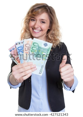 Beautiful woman with blonde hair and money showing thumb up - stock photo
