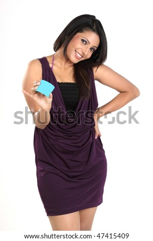 Beautiful woman with blue blank credit card - stock photo