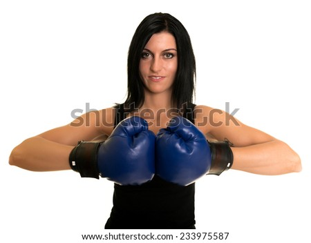 beautiful woman with boxing gloves - stock photo