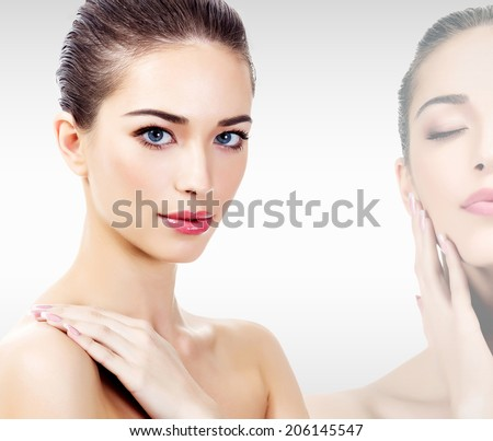 Beautiful woman with clean, fresh skin  - stock photo
