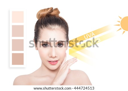 Beautiful woman with clean skin - concept of Asian beauty and Sun block skin - stock photo