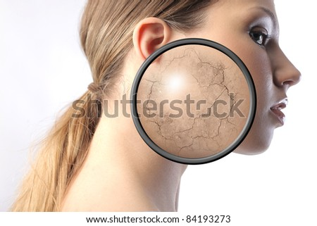 Beautiful woman with closeup of her dried visage - stock photo