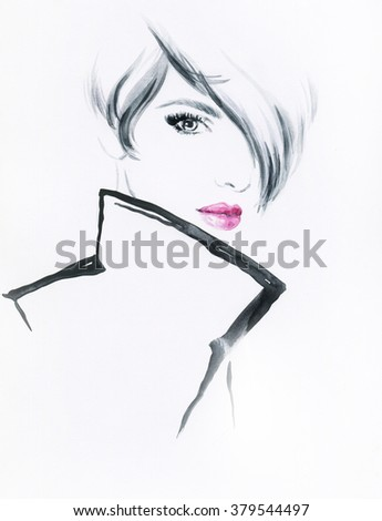 Beautiful woman with coat. watercolor illustration - stock photo
