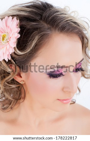 Beautiful woman with curly hair  - stock photo