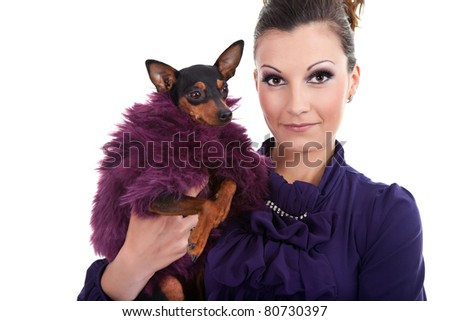beautiful woman with fashion, fancy dog in hands,  isolated on white - stock photo