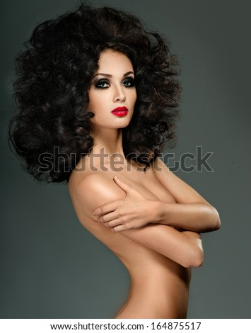 Beautiful woman with fashion hairstyle - stock photo