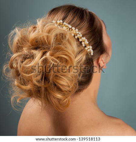 Beautiful woman with hairstyle for different events - stock photo