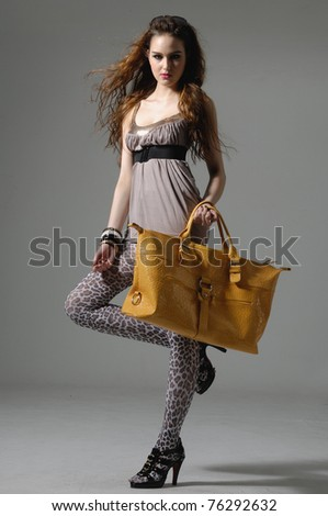 Beautiful woman with handbag on gray background - stock photo