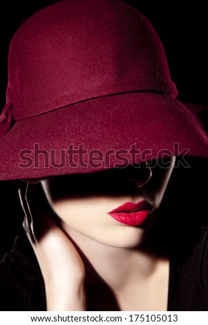 Beautiful woman with hat and red lips  - stock photo
