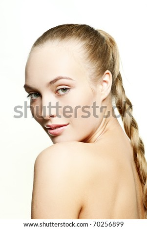 Beautiful woman with health skin of a face - isolated on white background - stock photo
