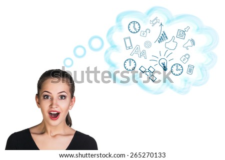 Beautiful woman with long hair on a white background in a sexy pose with a surprised face - stock photo