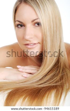 Beautiful woman with long hairs - stock photo