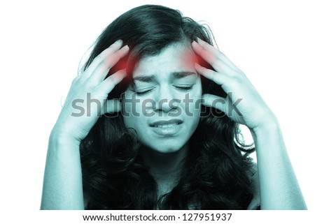 Beautiful woman with pain - stock photo