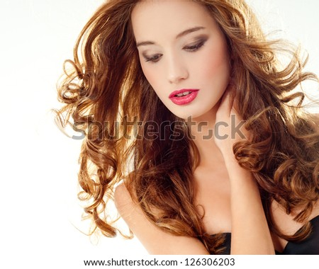 beautiful woman with perfect curls - stock photo