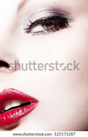 Beautiful woman with perfect Make Up - stock photo