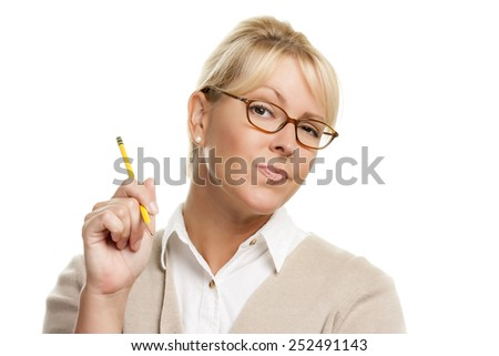 Beautiful Woman with Questioning Expression Holding Pencil Isolated On A White Background. - stock photo