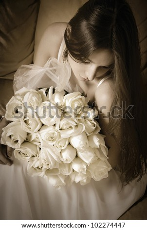 Beautiful woman with roses - stock photo