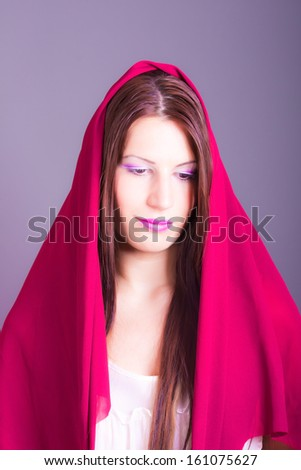 beautiful woman with veil - stock photo