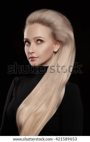 beautiful woman with wonderful blond hair.girl with healthy Hair - stock photo