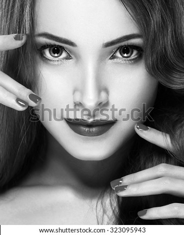 Beautiful woman young model black and white - stock photo