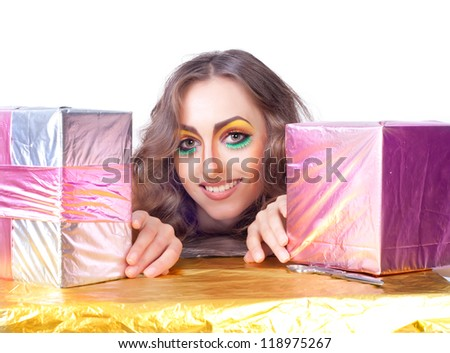 beautiful womanl with bright make-up and gift box over white - stock photo